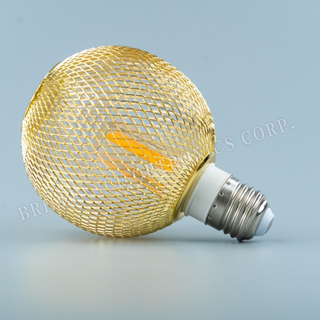 LED warm white bulb with small ball metal mesh